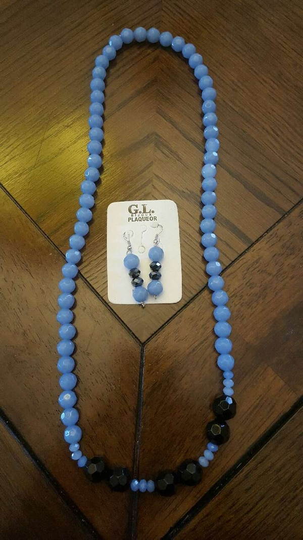Blue And Black Beaded Gl Plague Necklace