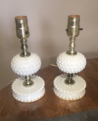 A pair of vintage milk glass lamps, Elmira, N3B 1W4