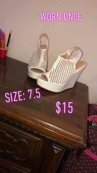 White leather peep toe platform wedges Lafayette, 70506