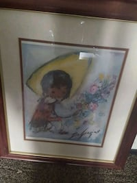brown wooden framed painting of woman 1952 mi