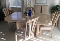 Dining table and chairs set of 4 with center leave