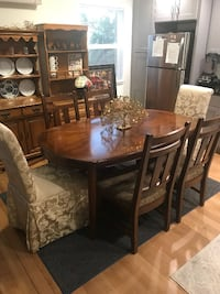Beautiful Solid Walnut Wood Dining Table And Side Chairs By Ashley Furniture Renton