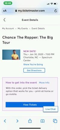 2 Chance the rapper tickets for tour in NC on Jan.30
