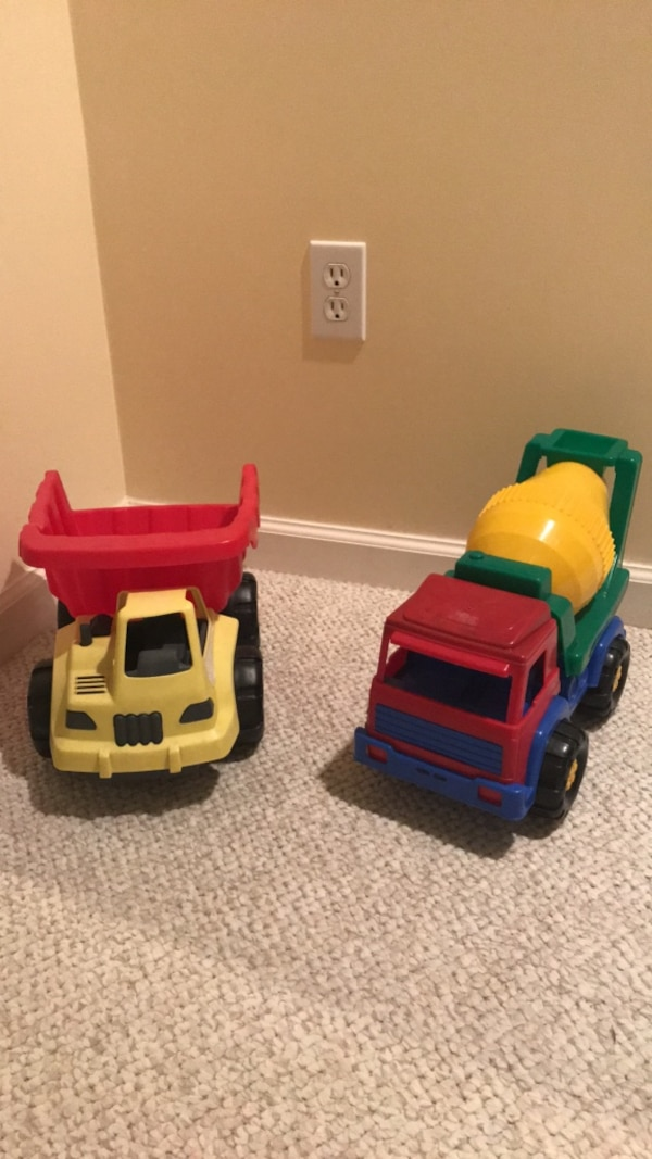 Large Toy trucks- dump and cement mixer  ae9d1bb6-ad2b-4f28-8e47-85ce57751d00