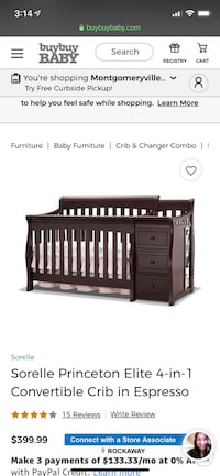 Convertible crib with changing station