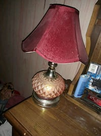 brass base with pink lampshade table lamp Columbus