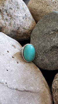 SOLID 925 Sterling Silver Natural Turquoise Ring!    Size 8.5!