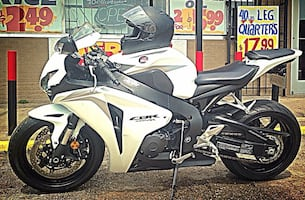 Black and white sports motorcycle