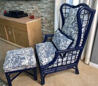 Gorgeous Bamboo Wing Back Lounge Chair & Ottoman Set Reupholstered!!  North Las Vegas, 89081