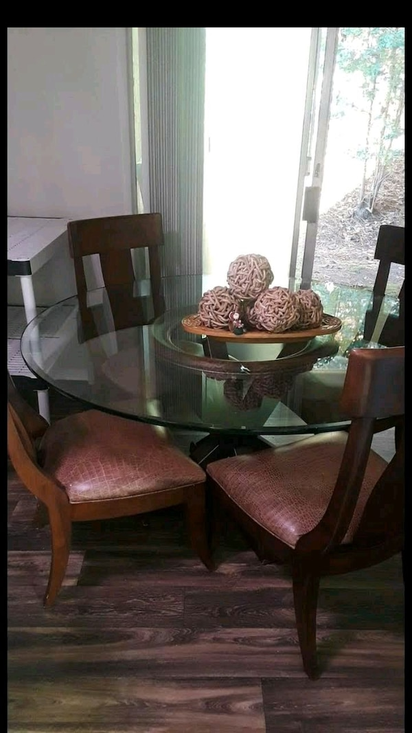 "Used 72"" Round Glass Top Table With 6 Chairs Dining Set"