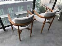 two brown wooden framed white padded armchairs Los Angeles, 91344