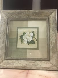 white petaled flower painting with brown wooden frame Laval, H7G 2N3