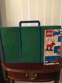 "LEGOS with carry case 16""W x 10  1/2""L   , 565 assorted pieces with instructions, Build  trucks, houses, helicopter, crane,tower, boat, etc  with 3 interlocking mats   $15.00 Hanover Township, 18706"