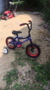 toddler's blue and red bicycle with training wheels Elgin, 60120