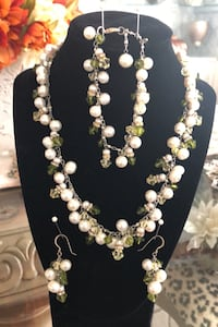 Freshwater Pearl and green crystals set