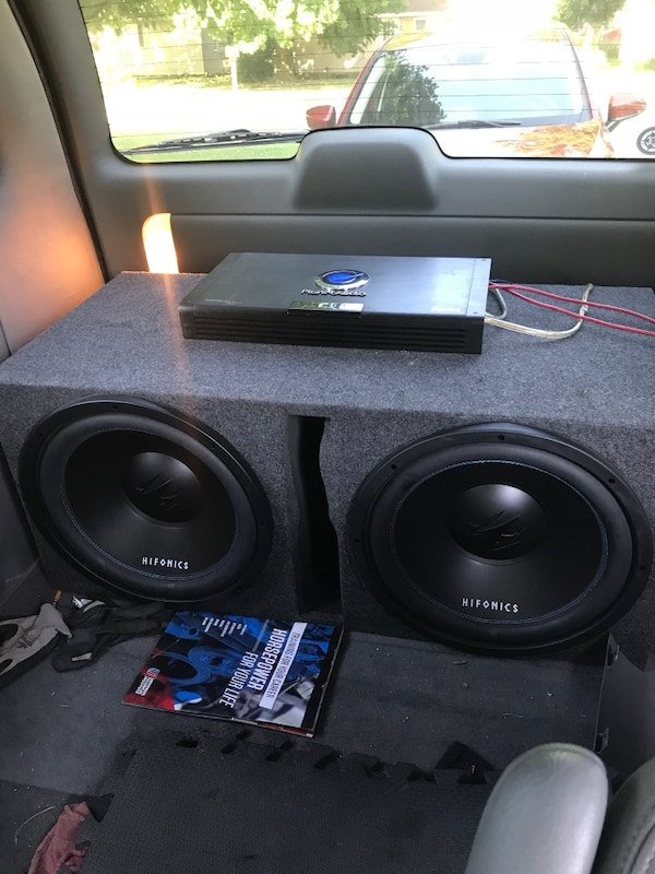 2 Hifonics 15 inch subs with amp