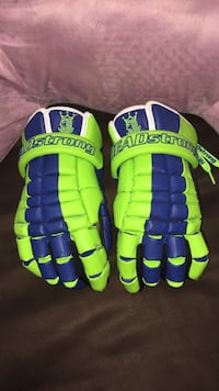 Green-and-blue Headstrong leather gloves Phoenix, 21131