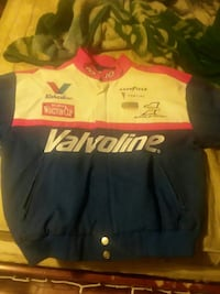 blue, white, and red racing jacket Easton, 18042