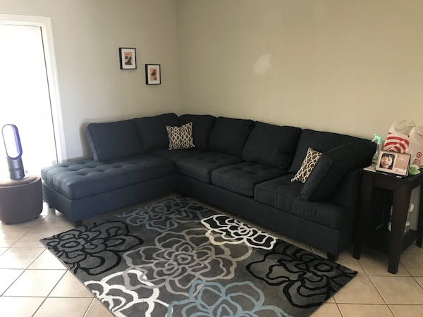 NEW Sectional Sofa L-Shaped Couch Dark Blue