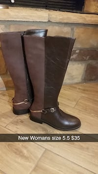 pair of brown leather ankle-buckled knee-high boot CLOVIS