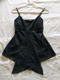 Black evening top with blue sparkles from Le Chateau size small Calgary, T2E 0B4