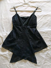 Black evening top with blue sparkles from Le Chateau size small