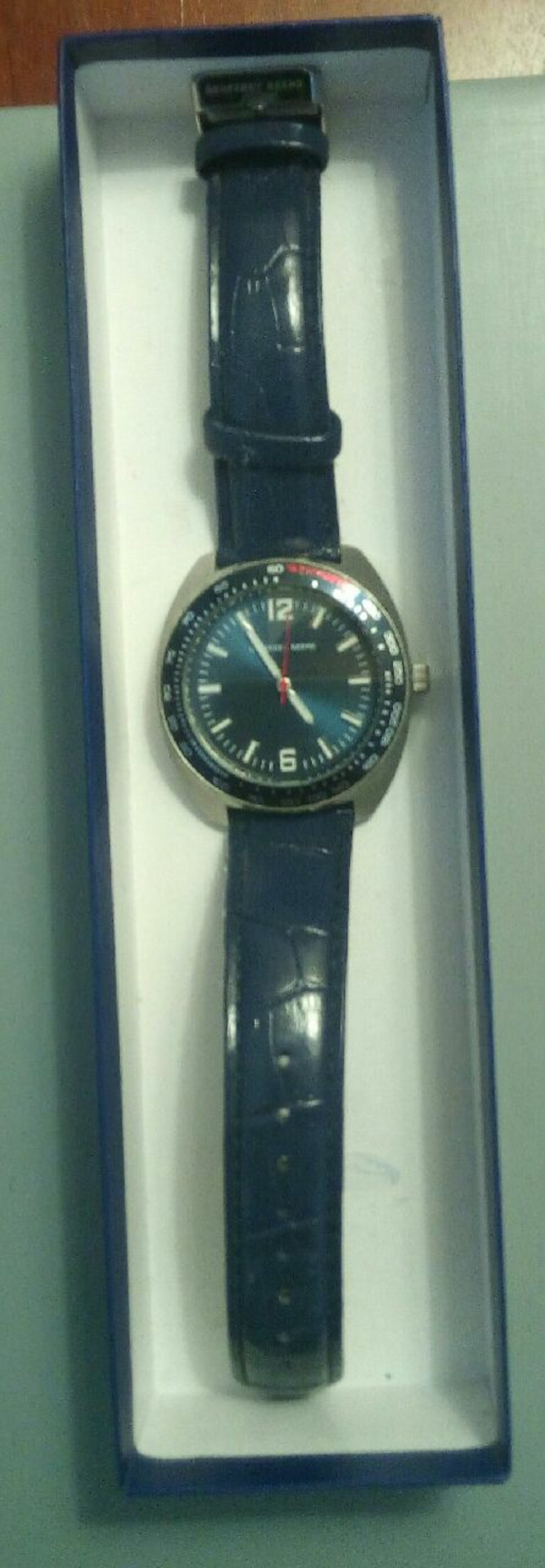 Geoffrey Beene, blue dial & leather band - Vaughan