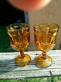 two clear glass footed cups Bristol, 37620