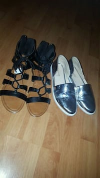 two pairs of black and brown sandals Toronto, M1P 2X9