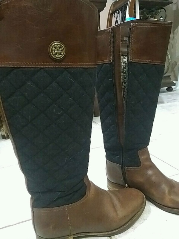 brown-and-black Tory Burch side-zip boots
