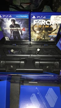 Ps4 stand has 2 remote chargers and 2 games