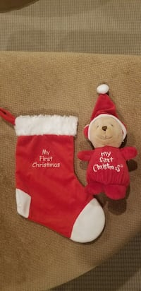 Baby's 1st. Christmas stocking and bear Caledon, L7C 1B5