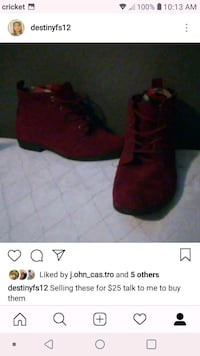 pair of red suede boots screenshot