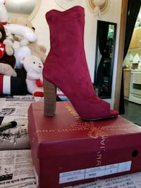 women's red suede heeled boots Las Vegas, 89121