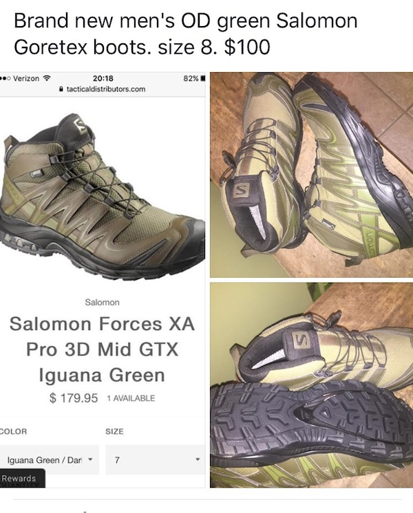 4974556115f9 Used salomon forces xa pro 3d mid gtx iguana green boots for sale in ...