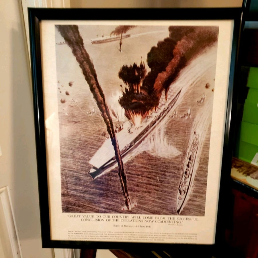 Vintage Lithograph of Battle of Midway
