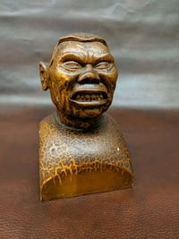 Hand Carved Wooden African Warrior head Essex, 21221