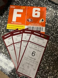 Redskins versus 49ers tickets club level and parking pass  Laurel, 20724