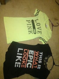 two yellow and black t-shirts