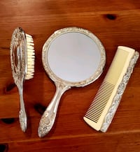 Vintage Silver Plated Vanity set Mirror, Brush, Comb