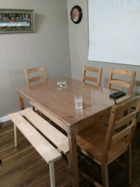 rectangular brown wooden table with chairs dining set Surrey, V3R 1M8