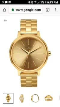 round gold analog watch with link bracelet Westminster, 92683