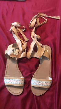 Women's brown leather open-toe ankle-strap flat sa Gainesville, 32607