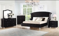 5 PCS VELVET QUEEN BEDROOM SET . AVAILABLE IN BLUE AND BLACK  Clifton, 07013