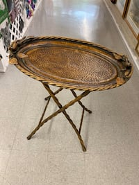 Bronzed Metal, Oval Folding Table