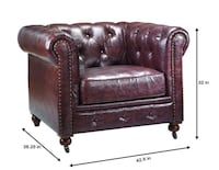 2 Brown tufted armchairs Home decorators Gordon chesterfield chairs Houston, 77345