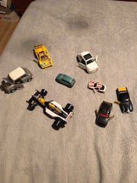 Dinky cars.  Guisval lamborghini made in Spain Durango Renault  made in Italy  Seat Ronda made in Spain 1/43 Clio made in Italy Majorette Toyota celica  1/25 fiat made in italy.   $4 each. Or make me an offer for all.   London
