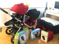 baby's red and black travel system