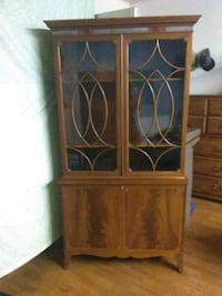 brown wooden framed glass cabinet Dallas, 75224