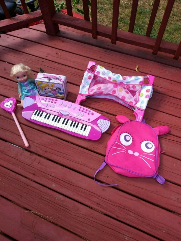 Used Baby Crib And Doll Pink Piano Book Bag Light Up Wa For Sale In